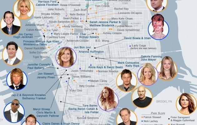 """Ο χάρτης των """"αστεριών"""" της Νέας Υόρκης"""