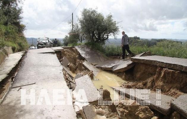 ΗΛΕΙΑ: Κατολισθήσεις, πλημμύρες και κομμένοι δρόμοι