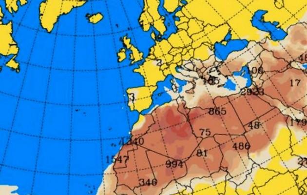 Δείτε τους χάρτες που δείχνουν την εισβολή σκόνης από την Σαχάρα