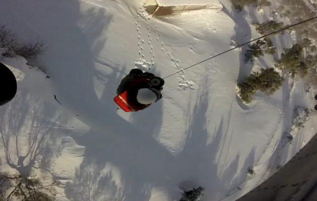 Δραματική διάσωση από ελικόπτερο του ΠΝ στην Κύμη (βίντεο)