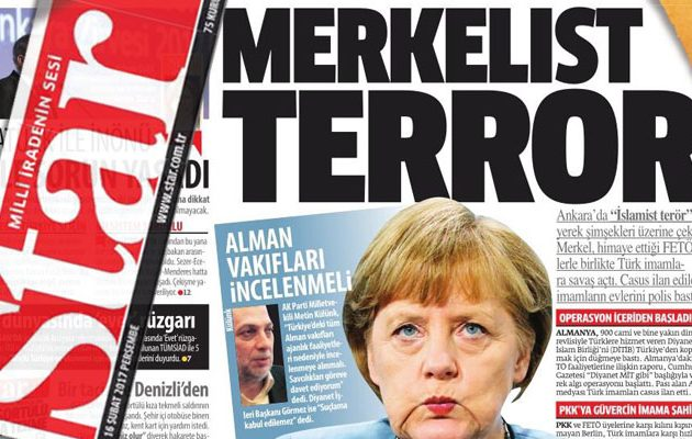 """Εφημερίδα του Ερντογάν κατηγορεί την Άνγκελα για """"Μερκελιστικό Τρόμο"""" – Παιχνίδια κατασκοπείας"""