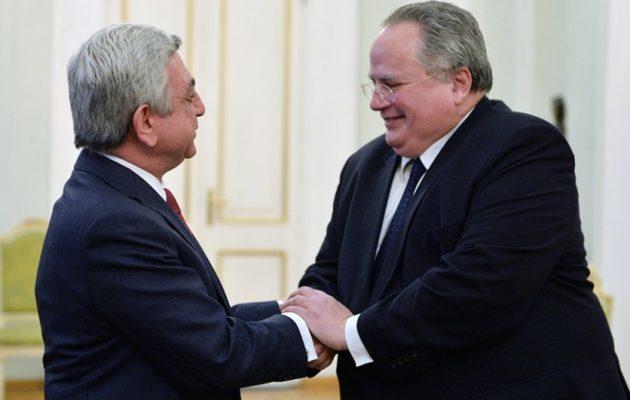 Το ανώτατο επίπεδο στρατηγικής συνεργασίας συμφώνησε ο Κοτζιάς με την Αρμενία
