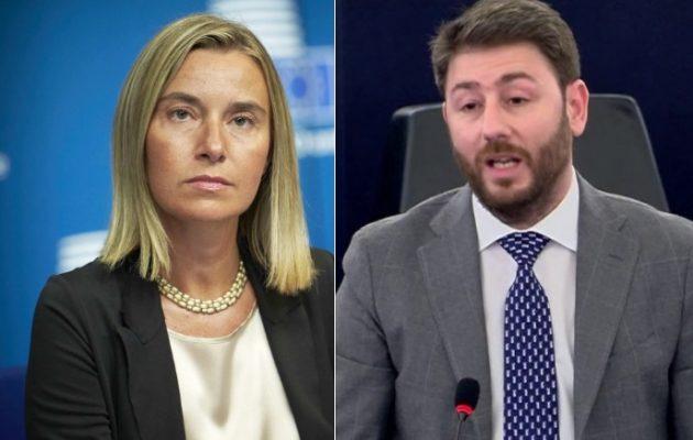 Ο Ανδρουλάκης έβαλε τη Μογκερίνι να δηλώσει: Έξω η Τουρκία από τη Συρία