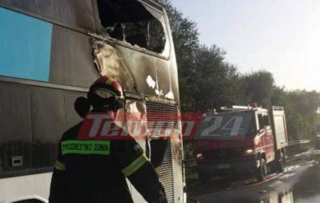Πάτρα: Πήρε φωτιά λεωφορείο που μετέφερε εκδρομείς μαθητές από τη Γλυφάδα (βίντεο)