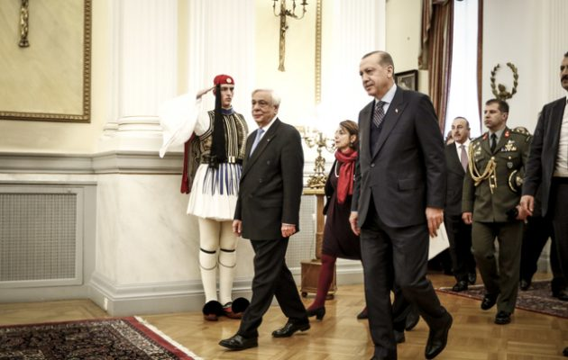 Αποτέλεσμα εικόνας για ερντογαν με μητσοτακη  στο προεδρικο