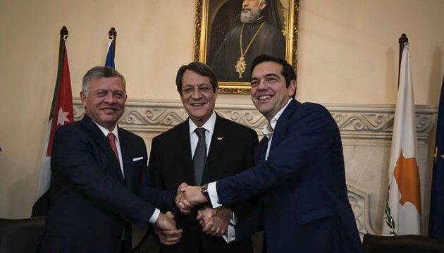 """Τσίπρας: Ελλάδα, Κύπρος και Ιορδανία γίνονται """"πυλώνες ασφάλειας"""" στην ανατολική Μεσόγειο"""