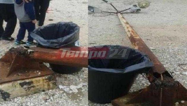 Πρωτοφανές: Χαρταετός έριξε κολώνα στην Πάτρα (φωτο)