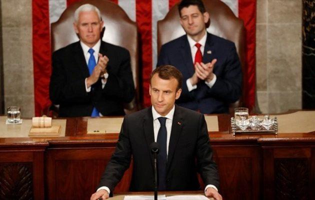 Μακρόν στο Κογκρέσο: Όχι στον εμπορικό πόλεμο – Ναι στο ελεύθερο και δίκαιο εμπόριο