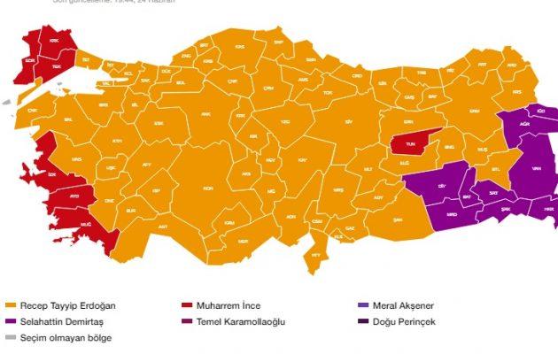 Προεδρικές εκλογές Τουρκία: Πρώτος με 56,4% ο Ερντογάν στο 54,2% των εκλογικών τμημάτων