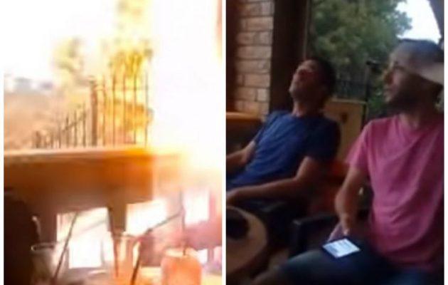 Ρόδος: Κεραυνός έπεσε δίπλα σε θαμώνες καφετέριας την ώρα που έπιναν τον καφέ τους (βίντεο)