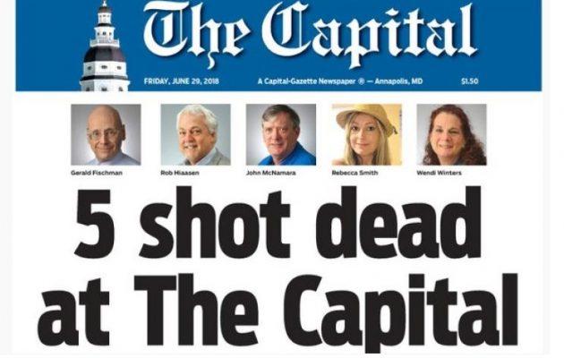 Πέντε δημοσιογράφοι νεκροί από επίθεση ενόπλου σε αμερικανική εφημερίδα