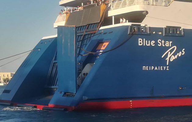 Πρόσκρουση του Blue Star Paros στο λιμάνι της Σύρου – Στο Νεώριο για επισκευή το πλοίο