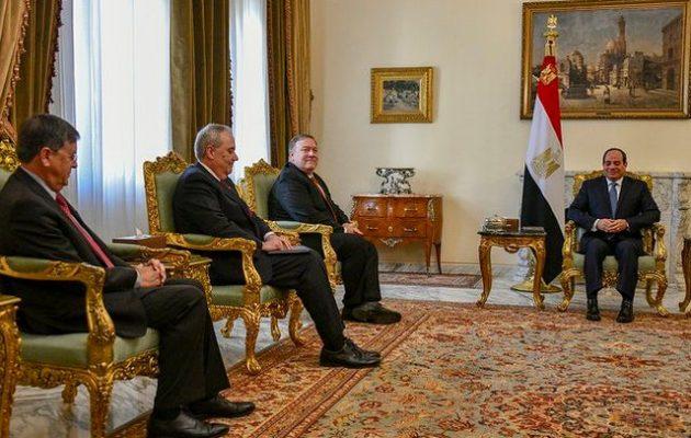 Μάικ Πομπέο: Δεν υπάρχει «αντίφαση» στη στρατηγική Τραμπ – Έπαινοι στον πρόεδρο της Αιγύπτου