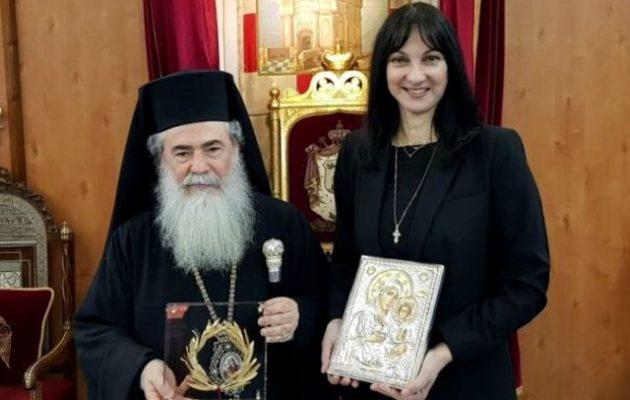 Συνάντηση της Υπουργού Τουρισμού Έλενας Κουντουρά με τον Πατριάρχη Ιεροσολύμων κ.κ. Θεόφιλο Γ΄