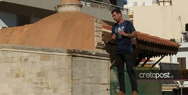 Απειλεί να αυτοπυρποληθεί άνδρας στο Ηράκλειο Κρήτης (φωτο)