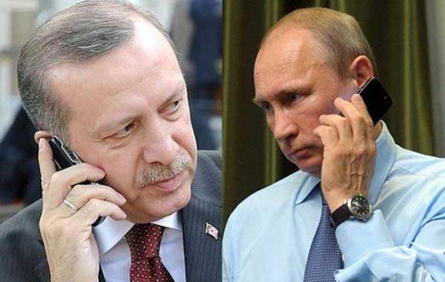 Ο Ερντογάν συνομίλησε τηλεφωνικά με τον Πούτιν για την εισβολή στο συριακό Κουρδιστάν