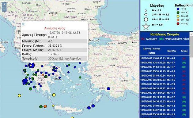 Σεισμός 4,7 Ρίχτερ στο Αγρίνιο – Κουνήθηκε και η Πάτρα
