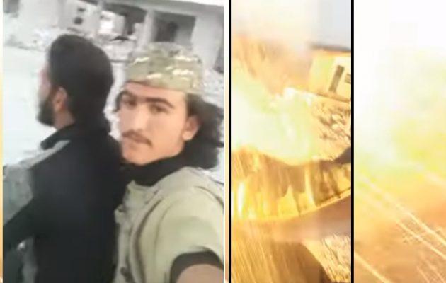 Δύο τζιχαντιστές βιντεοσκόπησαν τη στιγμή που τους έκανε κομμάτια συριακή οβίδα (βίντεο)