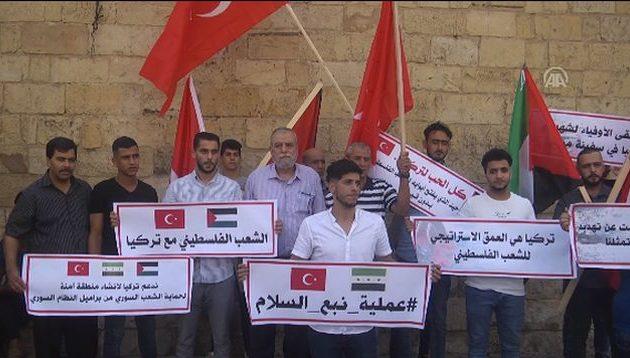 Παλαιστίνιοι διαδηλώνουν υπέρ της σφαγής των Κούρδων από την Τουρκία