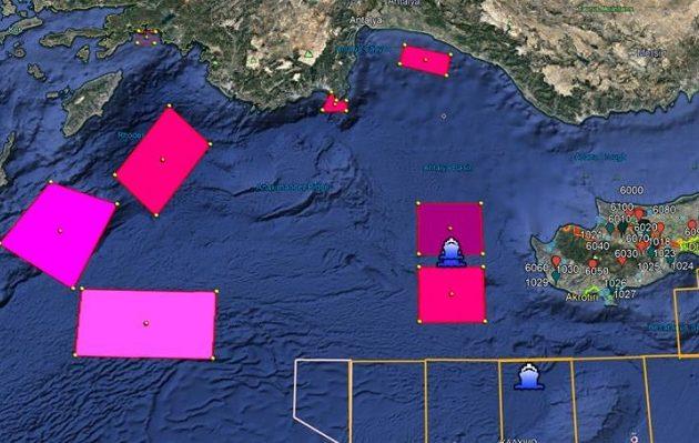 Η Τουρκία με πέντε Navtex δεσμεύει κυπριακή ΑΟΖ και Καστελόριζο