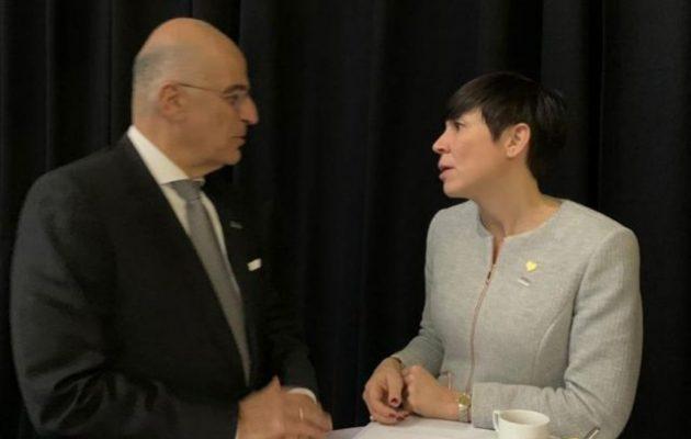 Ο Νίκος Δένδιας συναντήθηκε με την υπουργό Εξωτερικών της Νορβηγίας