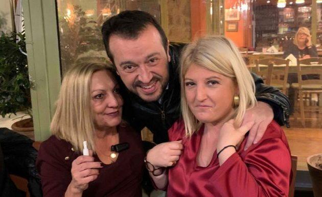 Ζανέτ Τσίπρα, Νίκος Παππάς και Γεωργία Γεννιά μετά τη συγκέντρωση των σοσιαλπατριωτών