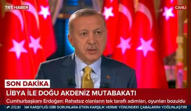 Ερντογάν: Με τη «συμφωνία» με την Τρίπολη κάναμε την Ελλάδα «να τρελαθεί»