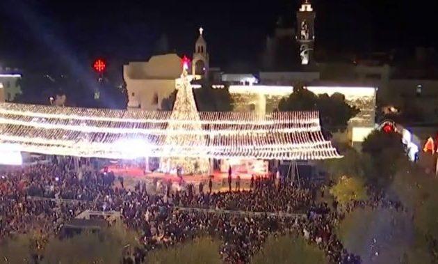 Φωταγωγήθηκε το Χριστουγεννιάτικο Δέντρο στη Βηθλεέμ (βίντεο)