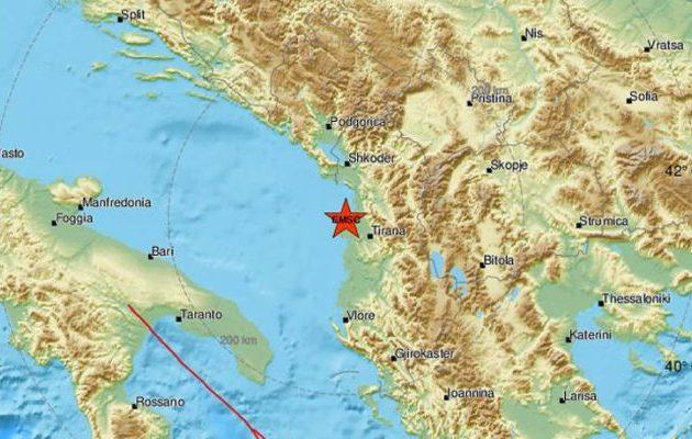 Ισχυρός σεισμός στην Αλβανία – 38 χλμ Β/Δ στα Τίρανα