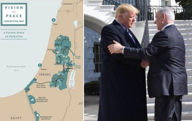 Λύση δύο κρατών, Ισραήλ και Παλαιστίνη, πρότεινε ο Τραμπ – Δείτε τον χάρτη