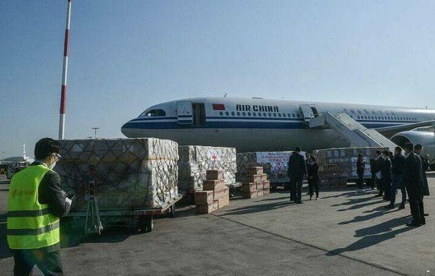 18 τόνους υγειονομικό υλικό μάς έστειλε η Κίνα – 550.000 μάσκες, ιατρικά γυαλιά, γάντια, καλύμματα κ.α.