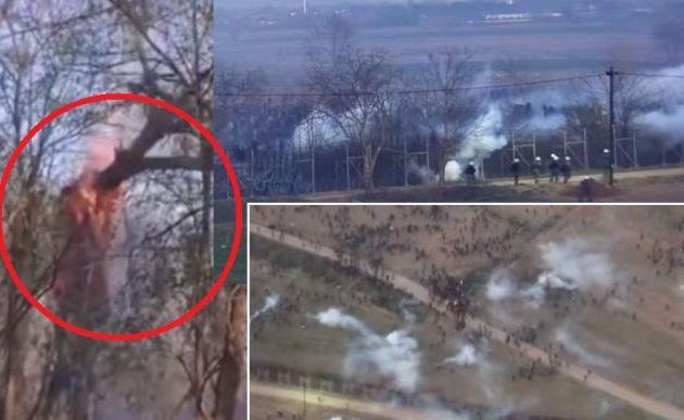 Παρακρατικοί της Τουρκίας στον Έβρο προσπάθησαν να ρίξουν τον φράχτη με φλεγόμενο δένδρο