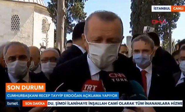 Ερντογάν: Θα συνεχίσουμε τα έργα αποκατάστασης της Αγίας Σοφίας σε τζαμί