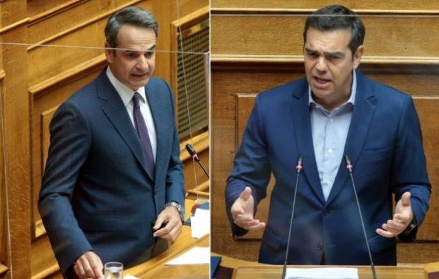 Σφοδρή αντιπαράθεση Μητσοτάκη-Τσίπρα στη Βουλή για τις διαδηλώσεις