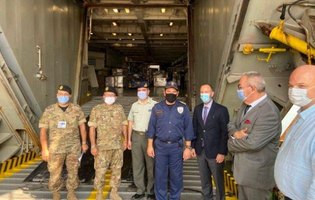 Το «Ικαρία» παρέδωσε τους 180 τόνους ανθρωπιστική βοήθεια στον Λίβανο