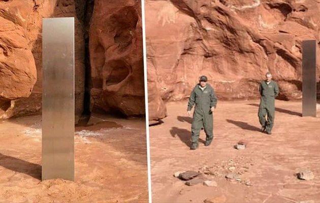 Μεταλλική στήλη που μοιάζει με μονόλιθο ανακαλύφθηκε στην έρημο της Γιούτα (βίντεο)