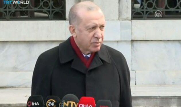 Ο Ερντογάν αφού προσευχήθηκε είπε ότι θέλει να δει τον Μητσοτάκη