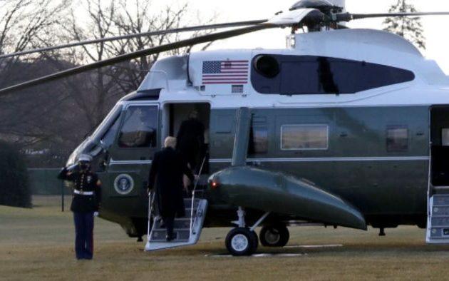 Ο Ντόναλντ Τραμπ αποχώρησε από τον Λευκό Οίκο με ελικόπτερο