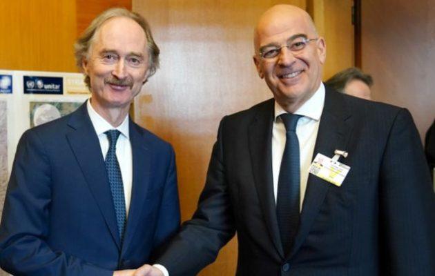 Με το βλέμμα πάντα και στη Συρία η Ελλάδα – Τι είπε ο Δένδιας στον Πέντερσεν του ΟΗΕ