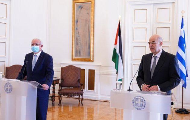 Ο Δένδιας υπενθύμισε στον Παλαιστίνιο ΥΠΕΞ ότι η Ελλάδα τούς στάθηκε όταν δεν τους στήριζε κανείς – Τι είπε για Τουρκία