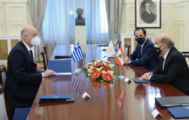 Οι εξελίξεις σε Ανατ. Μεσόγειο, Συρία και Λιβύη στην τριμερή Ελλάδας, Κύπρου και Λιβάνου