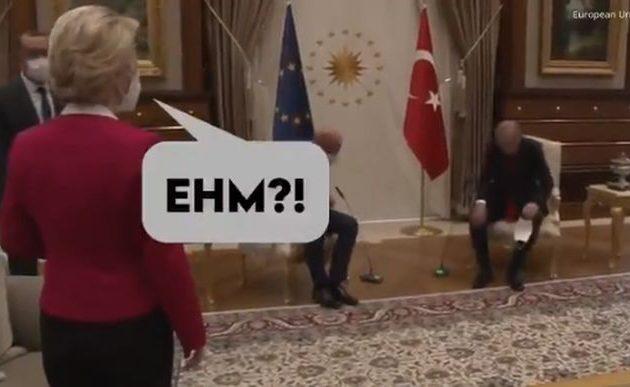 Το… «εχμ» της Ούρσουλα όταν την άφησε όρθια ο Ερντογάν – Οι γυναίκες στον καναπέ (βίντεο)