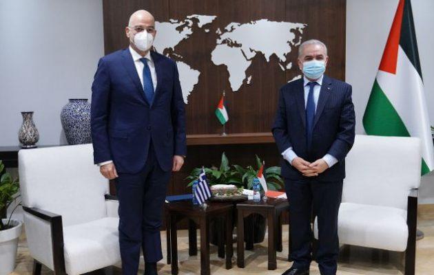 Τις εξελίξεις στην περιοχή συζήτησε ο Νίκος Δένδιας με τον Παλαιστίνιο πρωθυπουργό