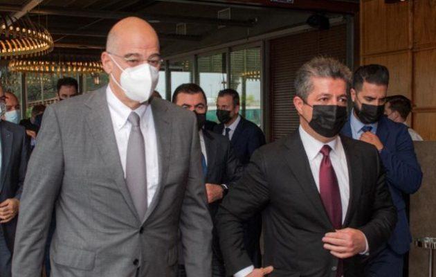 Ο Μπαρζανί σε γεύμα εργασίας με τον Δένδια – Το Σάββατο ο Κούρδος πρόεδρος στα Εμιράτα