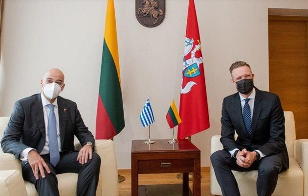 Δένδιας από Λιθουανία: Μεγάλες και σημαντικές οι διαφορές με την Τουρκία