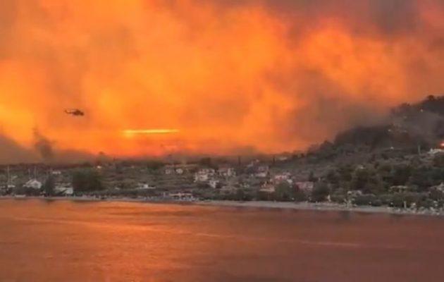 Εύβοια: Φωτιά στην περιοχή Δάφνη – Eντολή εκκένωσης του χωριού Σκεπαστή