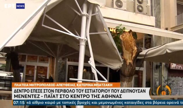 Δέντρο έπεσε στον περίβολο εστιατορίου όπου δειπνούσαν Μενέντεζ-Πάιατ – Δύο τραυματίες