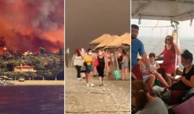Θα καεί όλη η Βόρεια Εύβοια – Δυστοπικές εικόνες στην παραλία στις Ροβιές (βίντεο)