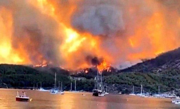 Η φωτιά απειλεί Αττάλεια, Αλικαρνασσό και Μαρμαρίδα – Επικρίσεις κατά Ερντογάν (βίντεο)